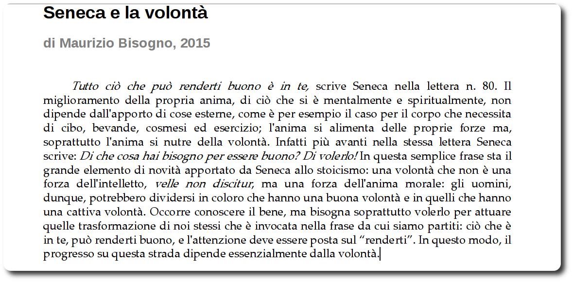 La novità intrdotta da Seneca nello Stoicismo
